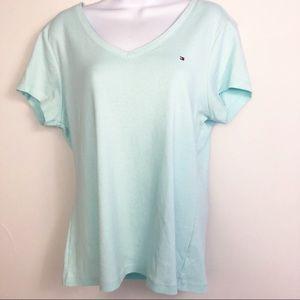 Tommy Hilfiger Sea Blue V Neck Logo T Shirt